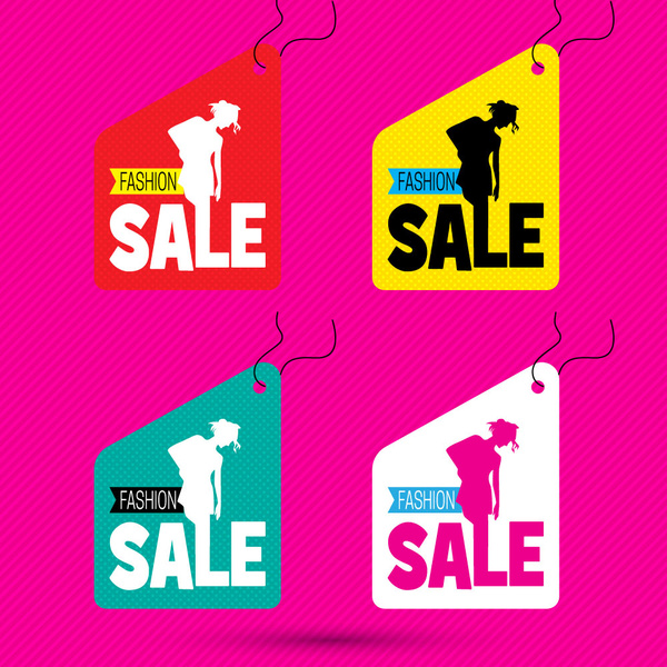multicoloured sale tags for fashion shop vector illustration