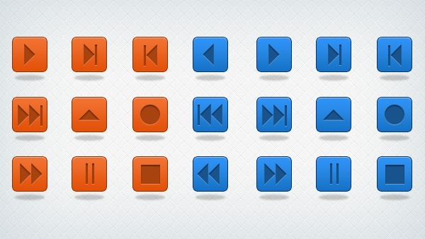 Multimedia Buttons & Icons PSD