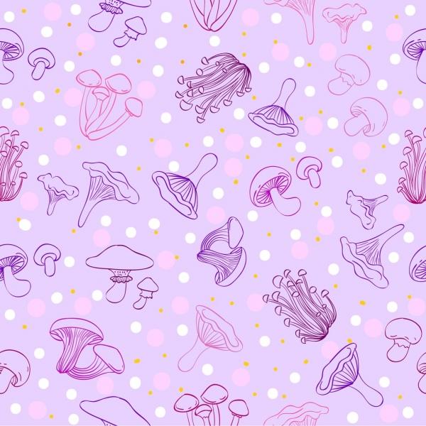 mushroom background violet repeating decor handdrawn design