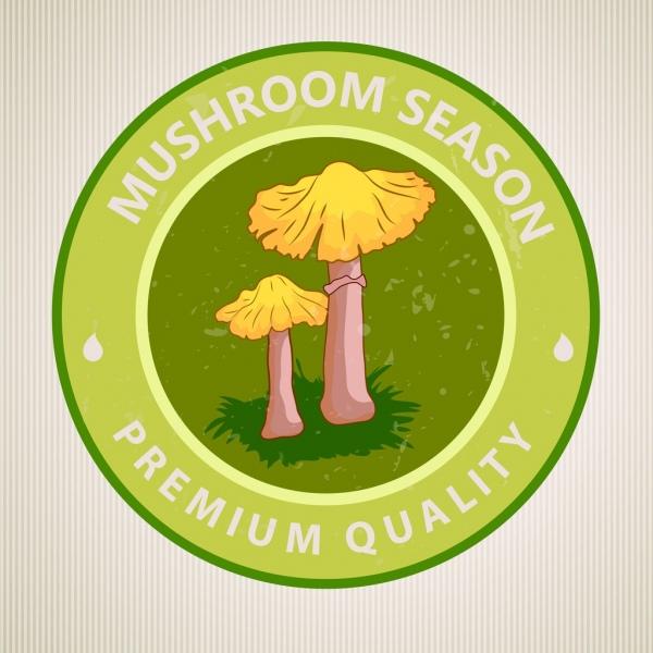 mushroom badge template green round design
