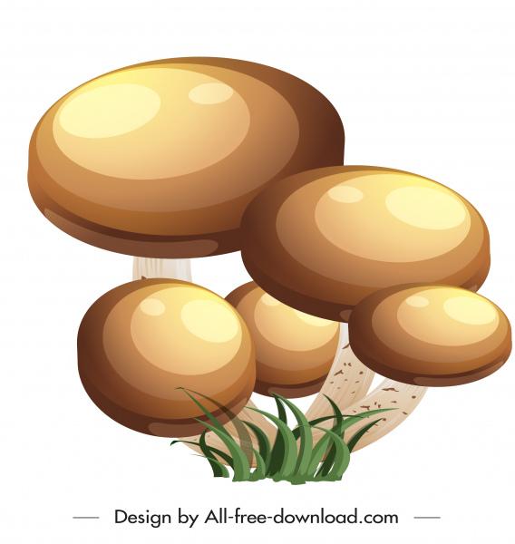 mushroom icon shiny brown decor 3d sketch