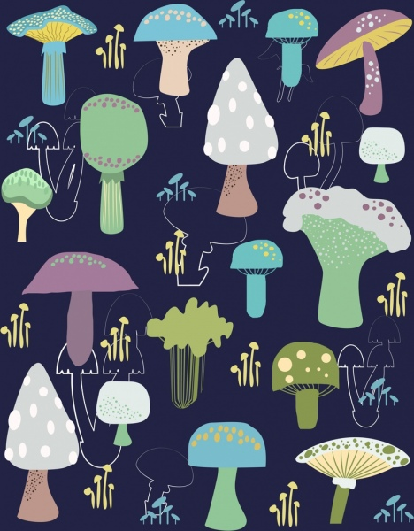 mushrooms background dark multicolored decoration
