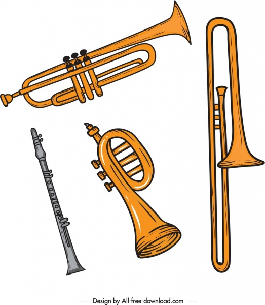 Music background trumpet saxophone flute icons retro design Free