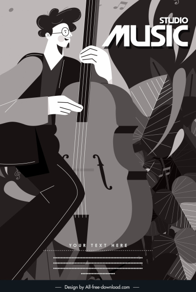 music banner black white retro guitarist sketch
