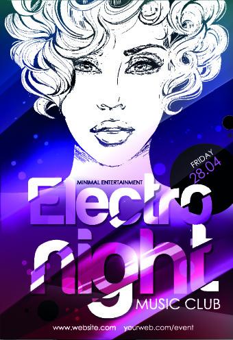 music club poster design vector