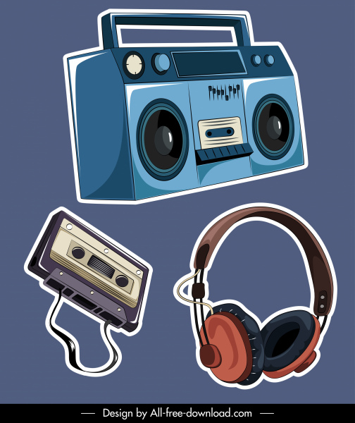 music devices icons colored classic sketch