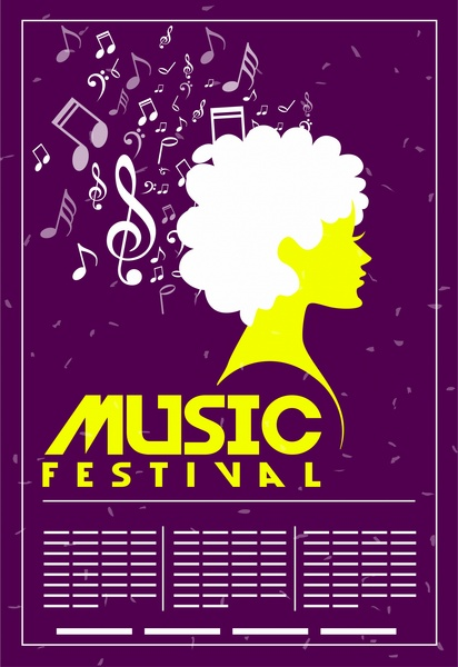 music festival banner flying notes and woman silhouette
