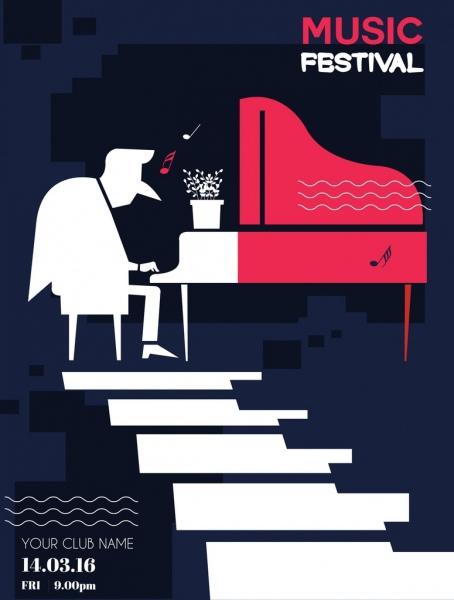 Music Festival Poster Pianist Icon Flat Silhouette Design