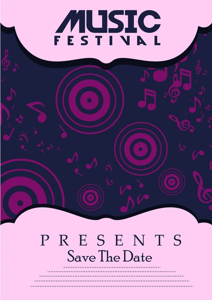 music festival poster violet symbol elements design free vector in