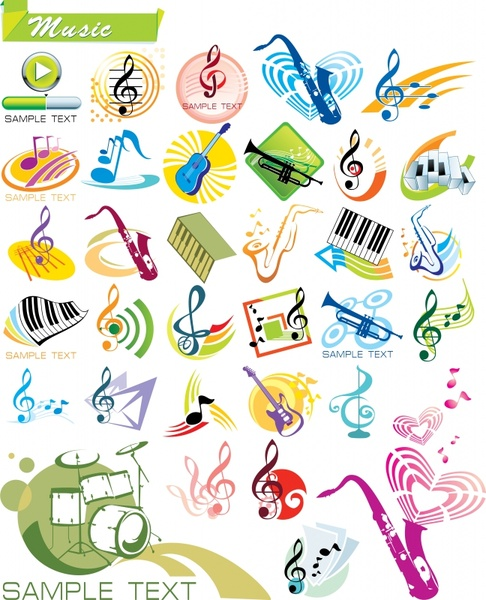 music design elements instruments notes symbols dynamic design