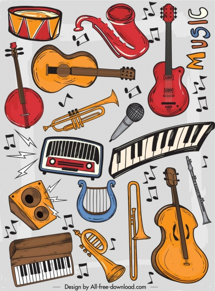 music instruments background colorful classical decor