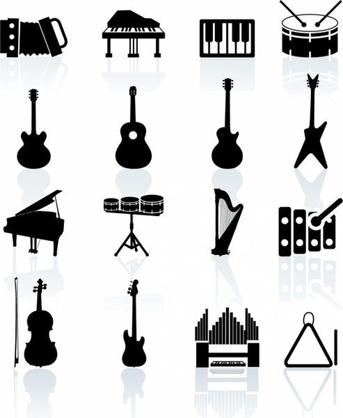 Music Instruments black and white icon set