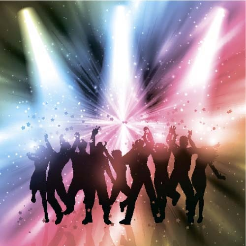 music party backgrounds with people silhouettes vectors