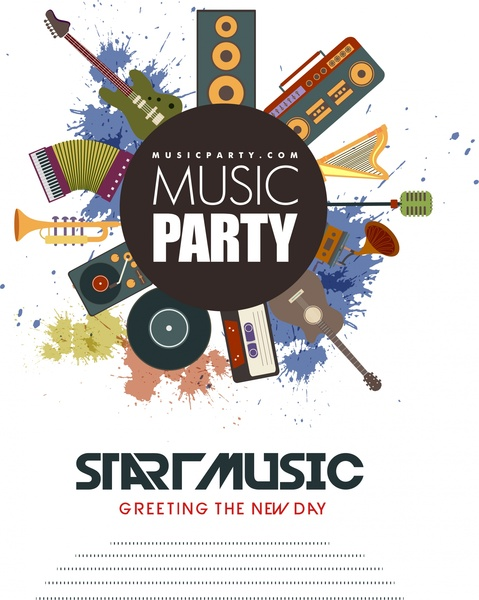 music party flyer retro instrument design splash colors
