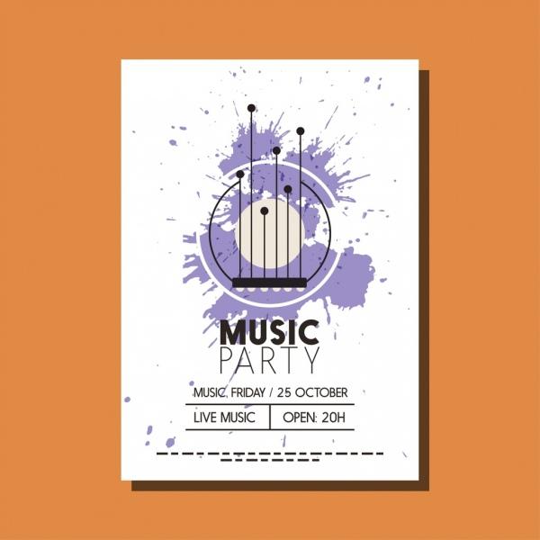 music party leaflet design circles violet grunge decoration