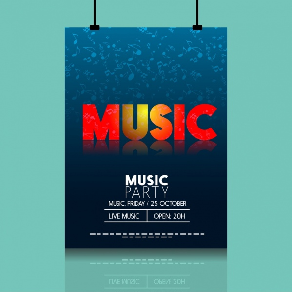 music party leaflet reflection text notes icons