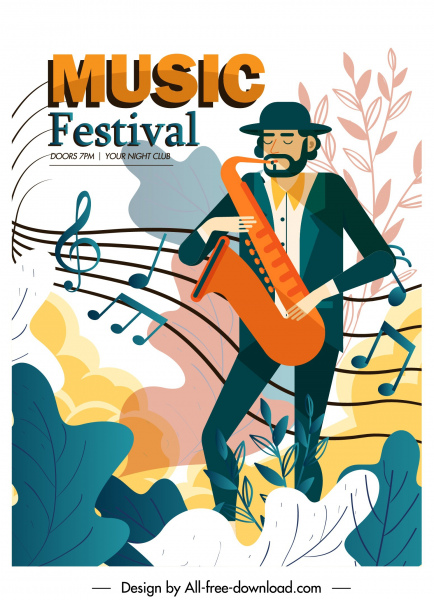 music poster template saxophonist notes sketch colorful classic