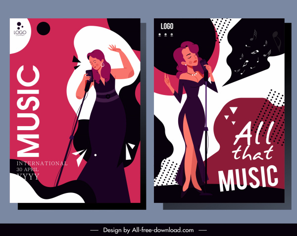 music poster templates dark colorful classic sketch