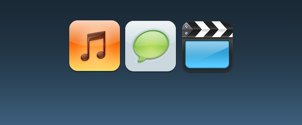 Music, Text, Videos iOS Icons
