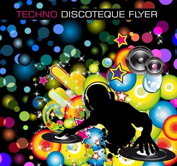 music background colorful bokeh silhouette dj icon decor
