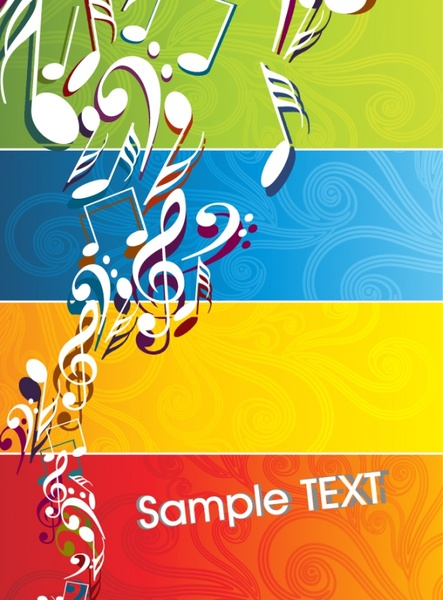 music background colorful dynamic notes decor