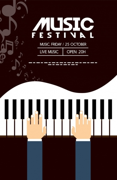 Musical Festival Banner Piano Icon Dark Background Free Vector In Adobe Illustrator Ai Ai Format Encapsulated Postscript Eps Eps Format Format For Free Download 1 32mb
