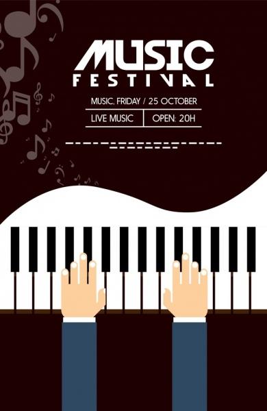 musical festival banner piano icon dark background