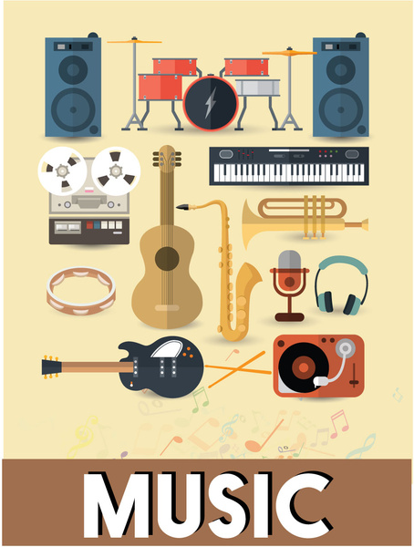 musical instruments vector design with colored flat style