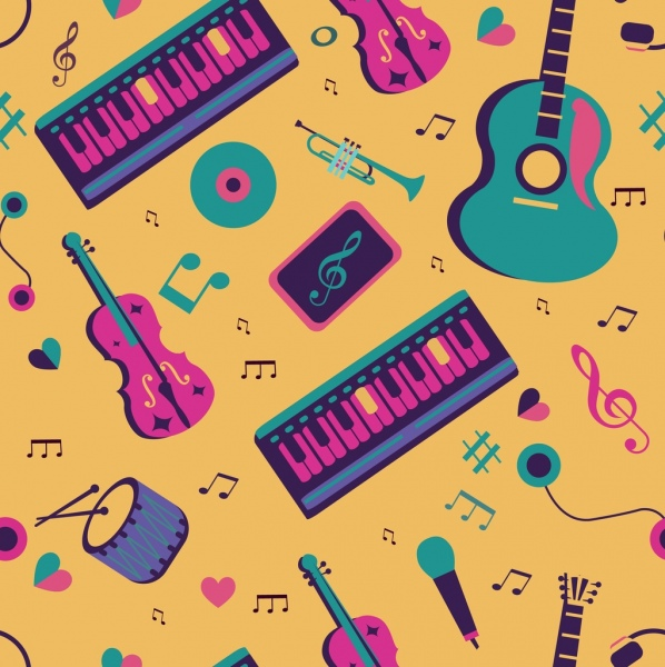 musical pattern instruments icons classical decor