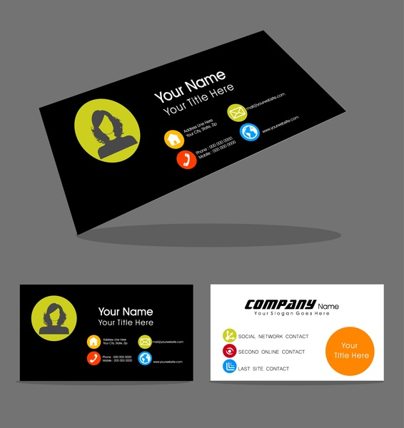 name card design with portrait on contrast background free vector in