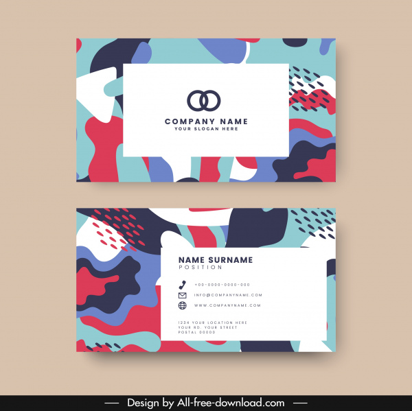 name card template abstract colorful classical deformity decor