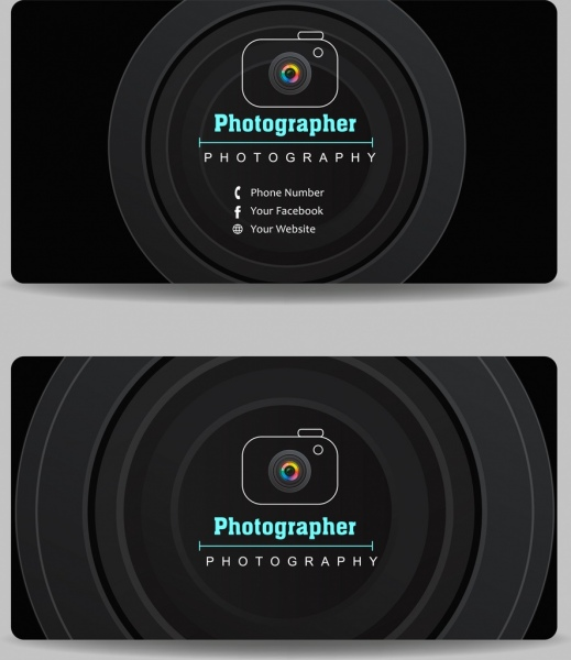name card template camera lens icon dark design
