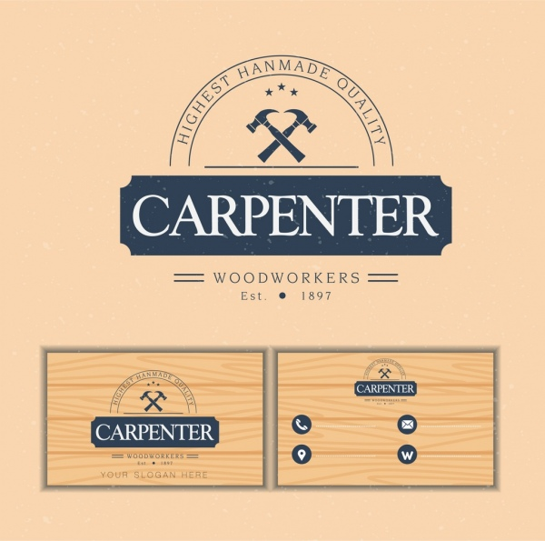 Name card template carpenter logotype wooden backdrop free vector in name card template carpenter logotype wooden backdrop wajeb