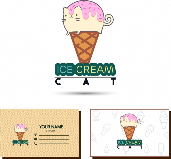 name card template cat ice cream icons decor free vector in adobe