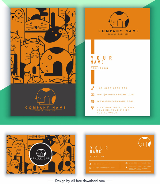 name card template cat theme decor classical design