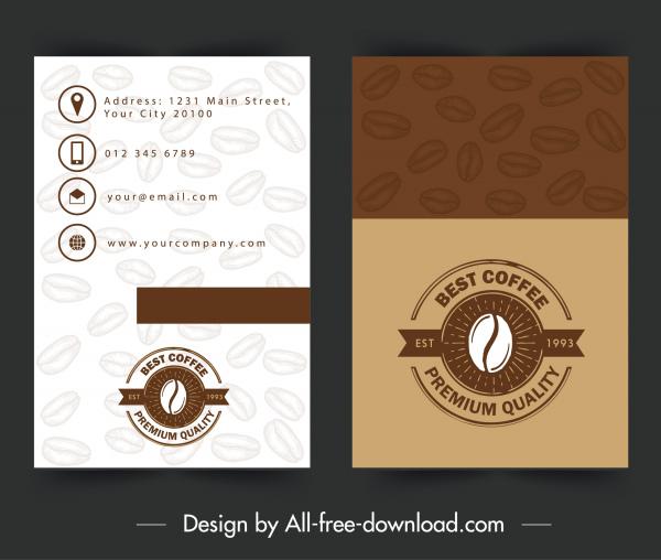 name card template coffee theme brown decor