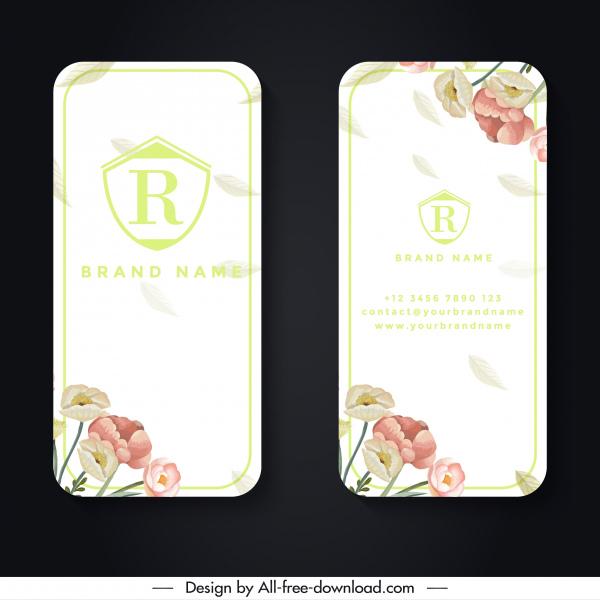 name card template elegant flowers decor vertical design
