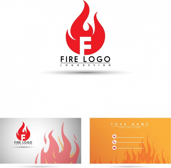 Name card template fire logo icon flame background Free vector in