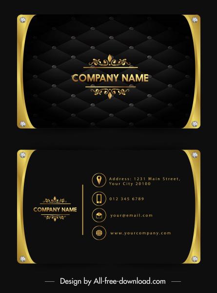 name card template luxury golden black gems decor