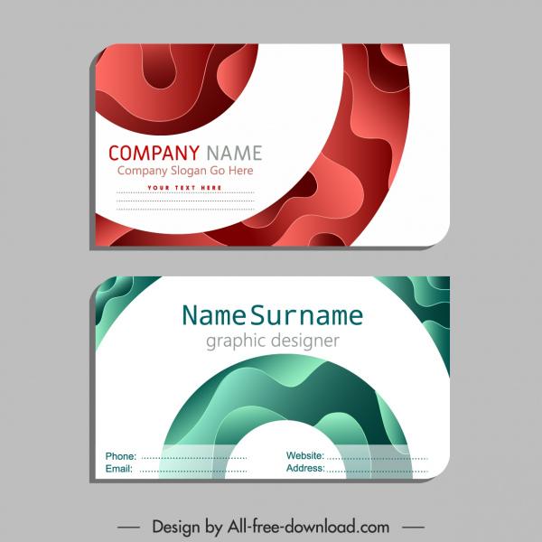 name card template modern flat deformed curves decor