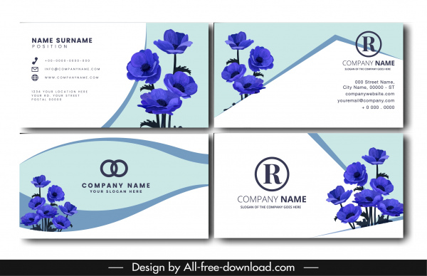 name card template nature theme blue flora decor