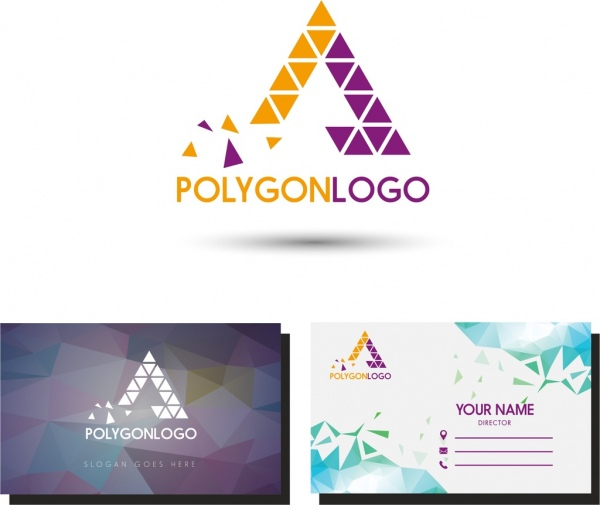 name card template polygonal logo and background decor