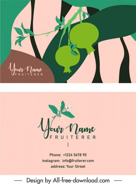 name card template pomegranate fruit sketch flat retro