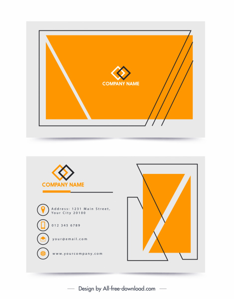 name card template simple flat yellow white design