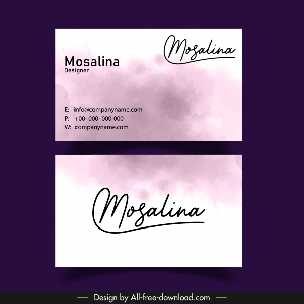 name card template simple grunge color flat classic
