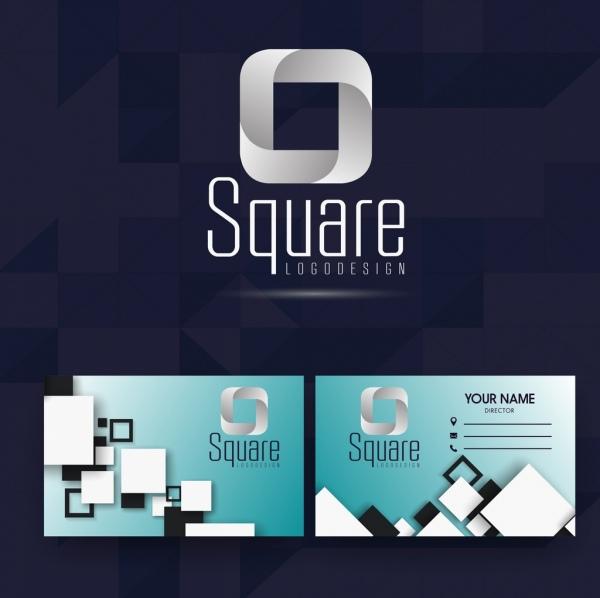 name card template squares decoration modern design