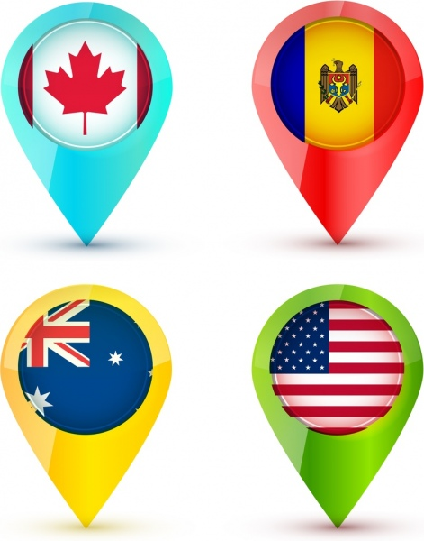 nation flag icons set colored droplet shapes isolation