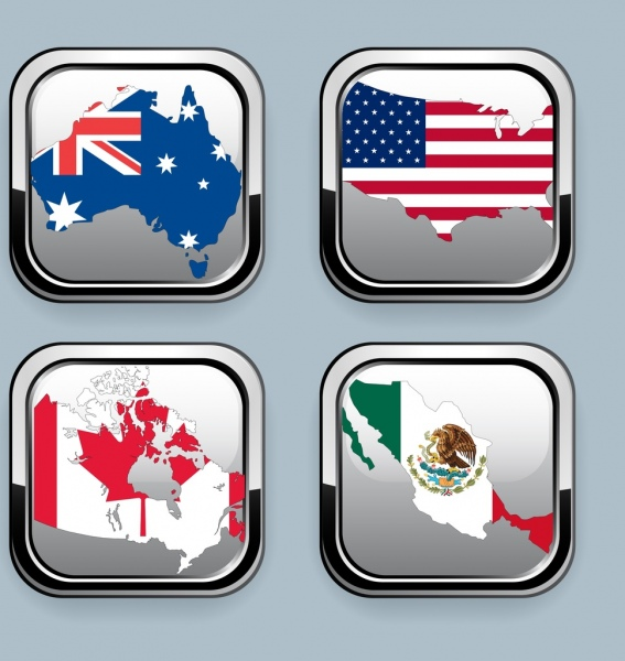 nation flags icons collection shiny squares decor