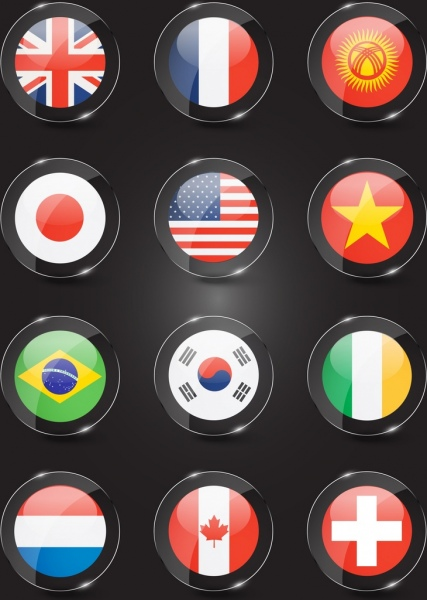 nation flags templates modern colorful shiny circles design