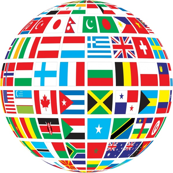 Nations flags vector illustration with abstract globe Free vector ...
